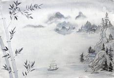chiński krajobrazu ilustracji
