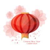 Chiński lampion w niskim poli- stylu z lotosowymi kwiatami Zdjęcia Stock