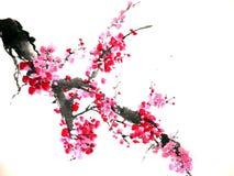 Chiński lub japoński atramentu obraz czereśniowy okwitnięcie royalty ilustracja