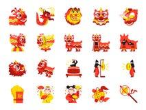 Chiński lwa tana koloru ikony set Zawrzeć ikony gdy występy, muzyk, lwa taniec, smoka taniec, świętowanie i więcej, ilustracji
