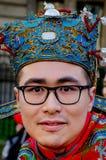 Chiński mężczyzna z tradycyjnym kostiumem i nakrętką Obrazy Royalty Free