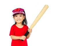 Chiński małej dziewczynki mienia kij bejsbolowy Obraz Royalty Free