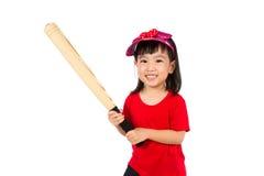 Chiński małej dziewczynki mienia kij bejsbolowy Zdjęcie Royalty Free