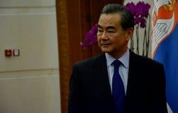 Chiński minister spraw zagranicznych Wang Yi przed spotkaniem obraz stock