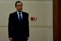 Chiński minister spraw zagranicznych Wang Yi przed spotkaniem zdjęcie stock