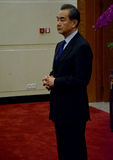 Chiński minister spraw zagranicznych Wang Yi przed spotkaniem fotografia royalty free