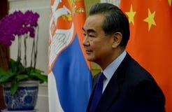 Chiński minister spraw zagranicznych Wang Yi przed spotkaniem zdjęcia stock