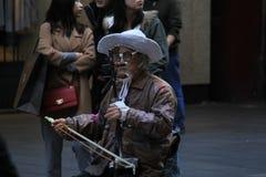 Chiński muzyk w Sydney zdjęcia royalty free