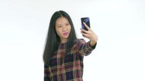 Chiński nastolatek bierze selfie zbiory wideo