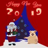 Chiński nowego roku plakat, kartka z pozdrowieniami z Ziemską świnią, Święty Mikołaj royalty ilustracja