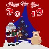 Chiński nowego roku plakat, kartka z pozdrowieniami z Ziemską świnią ilustracji