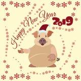 Chiński nowego roku plakat, kartka z pozdrowieniami z Ziemską świnią ilustracja wektor