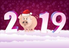 Chiński nowy rok 2019! Kreskówki świnia z Santa kapeluszem ilustracja wektor