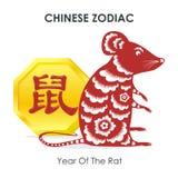 Chiński nowy rok mysz - rok szczur - ilustracji