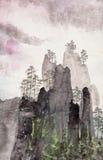 Chiński obraz góra i chmura ilustracja wektor