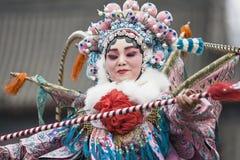 Chiński opera występ przy antyczną ścianą Xian, Chiny Obraz Royalty Free