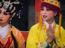 Chiński opery aktorki świętowanie miasto filaru świątynia zdjęcia royalty free