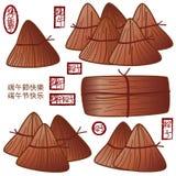 Chiński smok łodzi festiwalu kucharza jedzenie ilustracja wektor