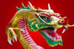 Chiński smok z czerwonym tłem Obrazy Royalty Free