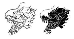 Chiński smoka tatuaż Czarny i biały Tradycyjny Japoński smok ilustracja wektor