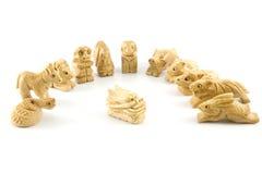 chiński smoka znaka woodcarving obrazy stock