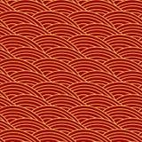 Chiński tradycyjny bezszwowy wzór Orientalny ornamentu tło, czerwona złota morze fala Obraz Royalty Free