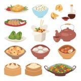 Chiński tradycyjny jedzenie dekatyzujący kluchy azjatykciej wyśmienicie kuchni zdrowy obiadowy posiłek i smakosza lunchu porcelan ilustracji
