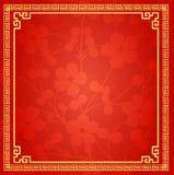 Chiński Tradycyjny tło, Śliwkowy okwitnięcie, kwiat, zima wielki mur rama royalty ilustracja