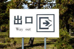 Chiński wyjście znak Zdjęcia Stock