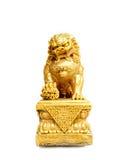 Chiński złocisty lew odizolowywający na białym tle Zdjęcie Stock