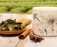 Chiński zielona herbata sposobów przerwy czas I napój zdjęcie stock