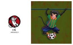 Chiński zodiak, małpa Obrazy Stock