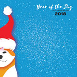 2018 Chińskich rok pies Szczęśliwy Chiński nowego roku kartka z pozdrowieniami Tapetuje rżniętego Akita Inu doggy z Santa Claus c Zdjęcie Stock