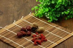 Chińskie wolfberry, czerwień daty, i longan Obrazy Royalty Free