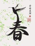 Chińskiego charakteru wiosna deseniujący hummingbird Zdjęcie Royalty Free