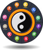 Chińskiego kaligrafia zodiaka projekta Płaski prostokąt Fotografia Stock