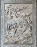 chińskiego lisiątka rzeźby kamienia świątynna tygrysa ściana Obrazy Royalty Free