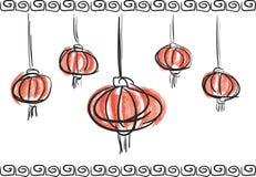 Chińskiego nowego roku latarniowego lampionu artystyczny szczotkarski nakreślenie ilustracji