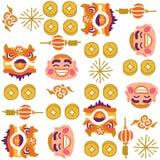 Chińskiego nowego roku lwa wektoru Dancingowy wzór royalty ilustracja