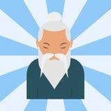Chińskiego sensei starego człowieka portreta azjatykcia starsza osoba przechodzić na emeryturę dziadek wektorową ilustrację Obrazy Stock