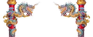 Chińskiego stylu smoka statuy odosobniony tło Zdjęcia Royalty Free
