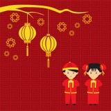 Chińskiego szczęśliwego nowego roku pary wektorowy projekt tradycyjny i latarniowy ilustracji