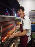 Chińskiego szefa kuchni Kulinarny Uliczny mięso Obrazy Stock