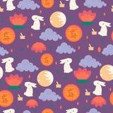 Chińskiego w połowie jesień festiwalu bezszwowy wzór Zdjęcie Stock