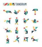 Chińskiej łamigłówki kształtów rozcięcia intelektualista żartuje grę - tangram origami wektoru set ilustracja wektor