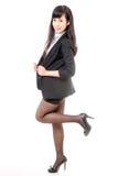 Chińskiej bizneswoman pozyci odosobniony biel zdjęcie stock