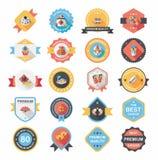 Chińskiej nowy rok odznaki sztandaru projekta tła płaski set, eps10 Zdjęcia Stock