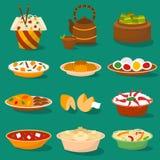 Chińskiej tradycyjnej karmowej azjatykciej wyśmienicie kuchni obiadowy posiłek i porcelanowy lunch gotowaliśmy wektorową ilustrac royalty ilustracja