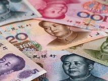 Chińskiej waluty Juan makro- tło, Porcelanowy gospodarka finanse tr Zdjęcia Stock