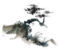 Chińczyka krajobraz z drzewem Zdjęcie Stock